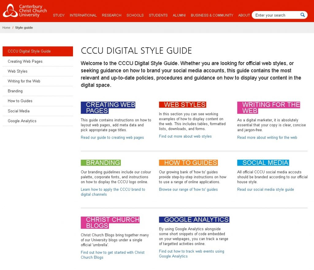Screenshot of the CCCU style guide for staff