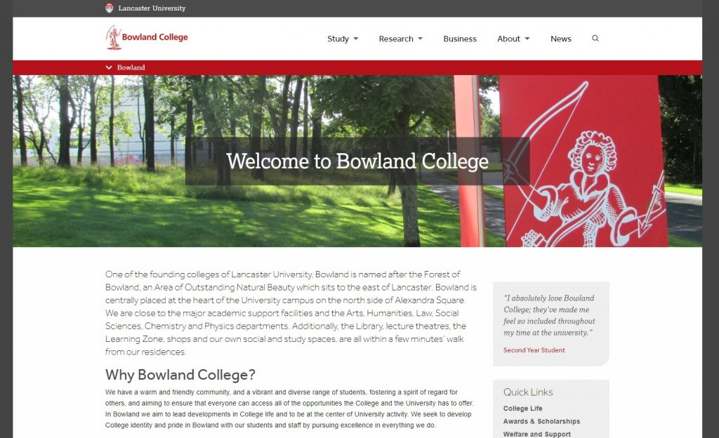 New Bowland College website, launched September 2017