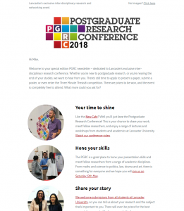 Postgraduate Research Conference 2018 Newsletter