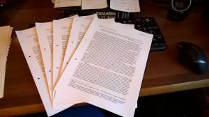 Early drafts of my five chapters