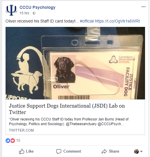 Oliver the Justice Dog's CCCU Staff ID
