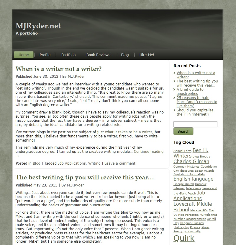 MJRyder.net website screenshot - 2013