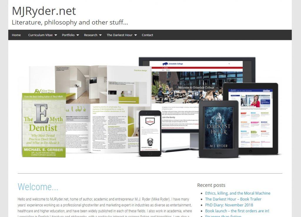 MJRyder.net website screenshot - December 2018