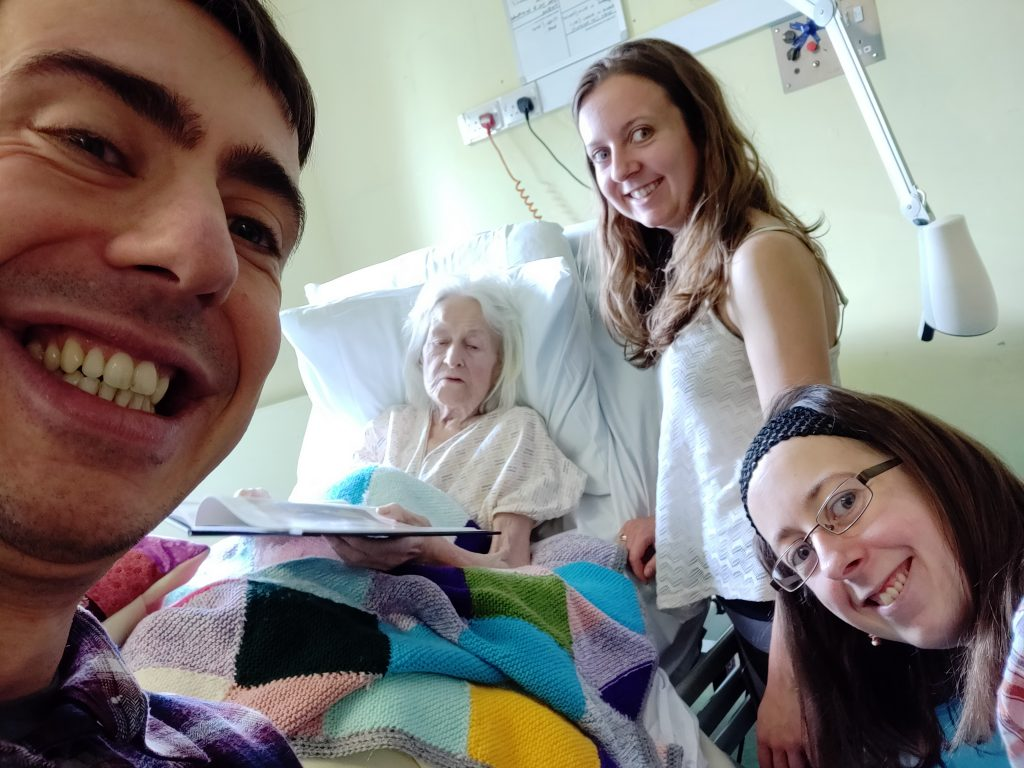 Visiting Nan in hospital, August 2018