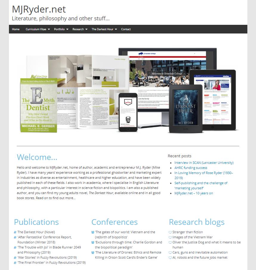 Screenshot of MJRyder.net, taken February 2019