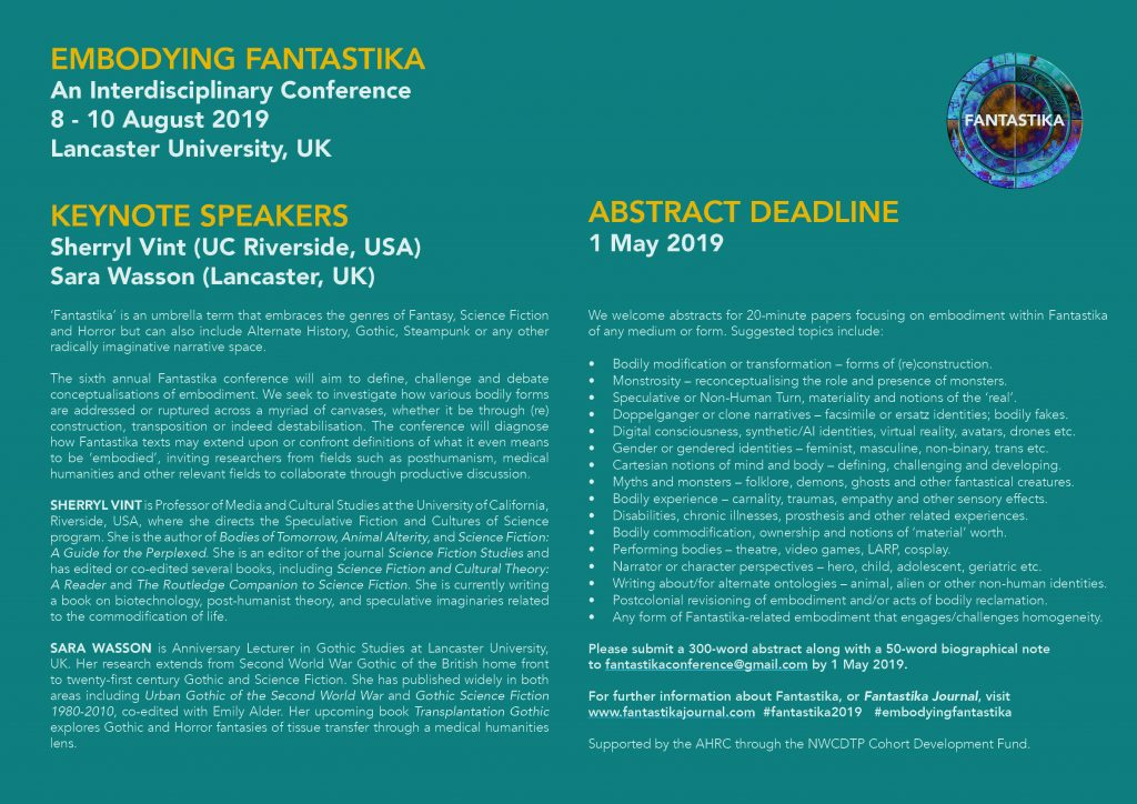 Embodying Fantastika at Lancaster University, 8-10 August 2019