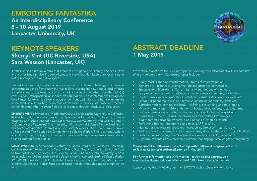 Embodying Fantastika at Lancaster University, 8-10 August 2019