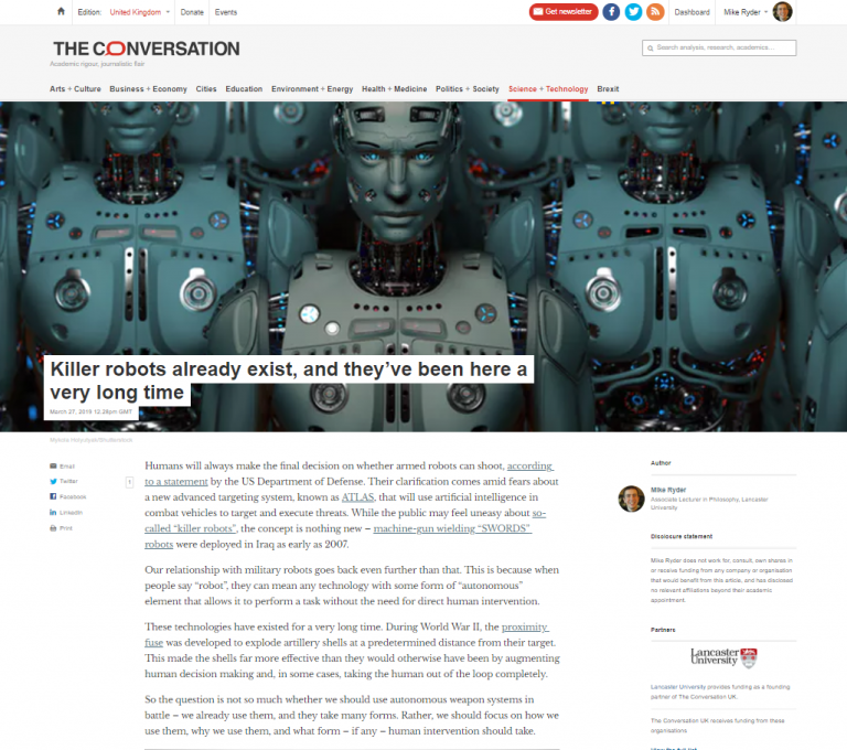 Killer robots article by M.J. Ryder featured in The Conversation, March 2019