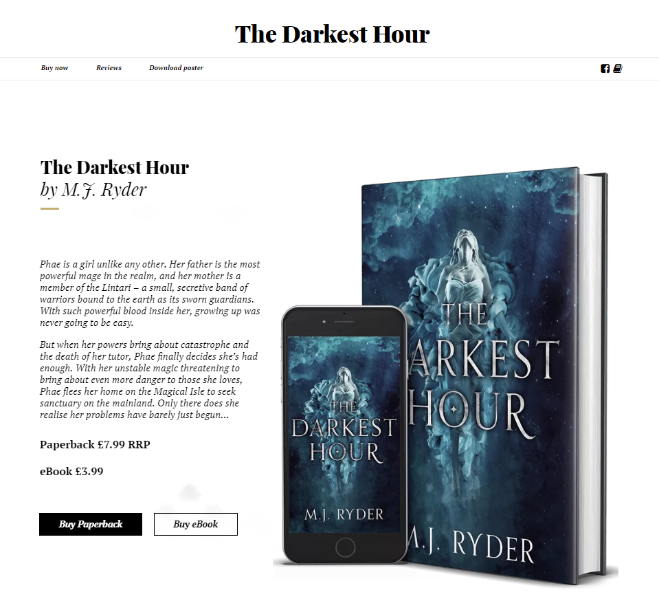 The Darkest Hour book website by M.J. Ryder