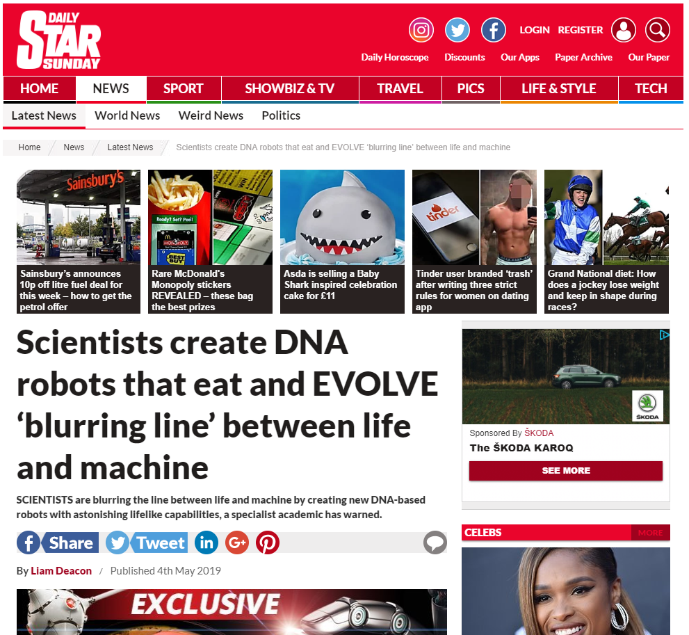 Interview with M.J. Ryder (Mike Ryder) featured in the Daily Star, 4 May 2019