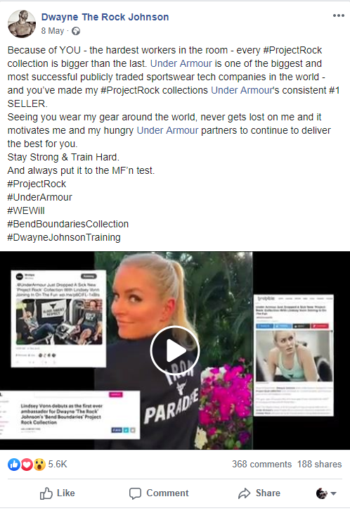 Dwayne Johnson hard work Under Armour post, Facebook, 8 May 2019