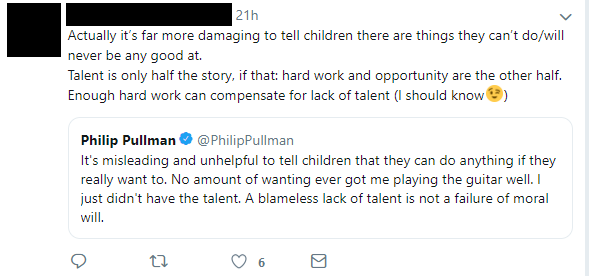 Philip Pullman on talent and work.