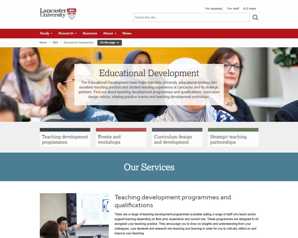Lancaster University website: Educational Development, Jan 2020