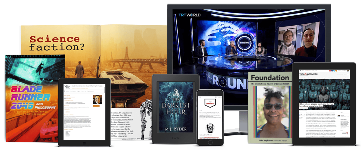 Publications by M.J. Ryder across a range of devices (Feb 2020).