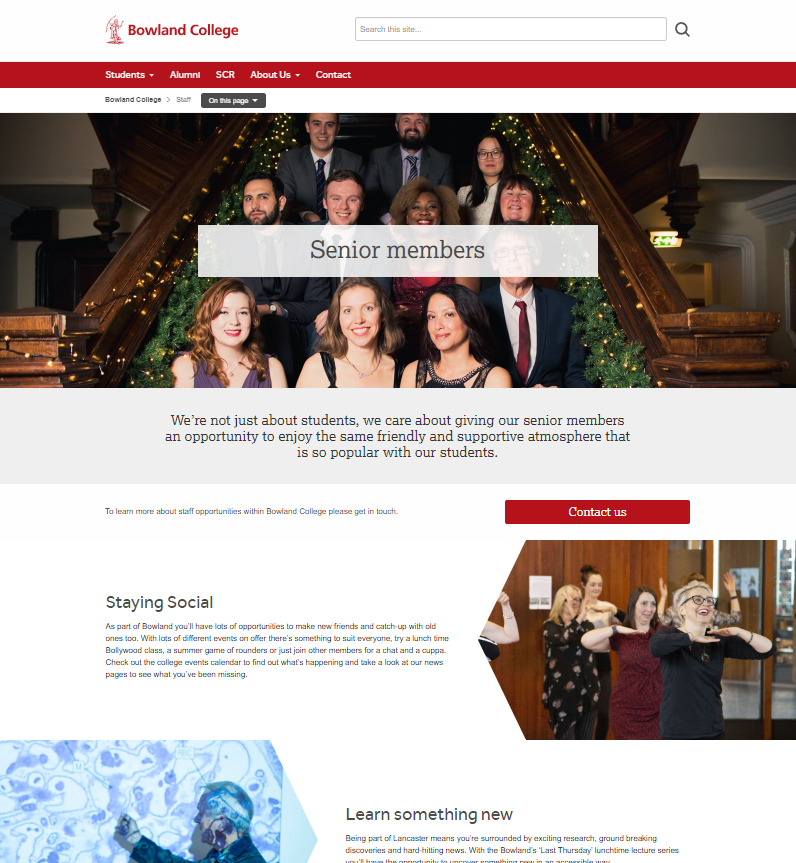 Bowland College - SCR page