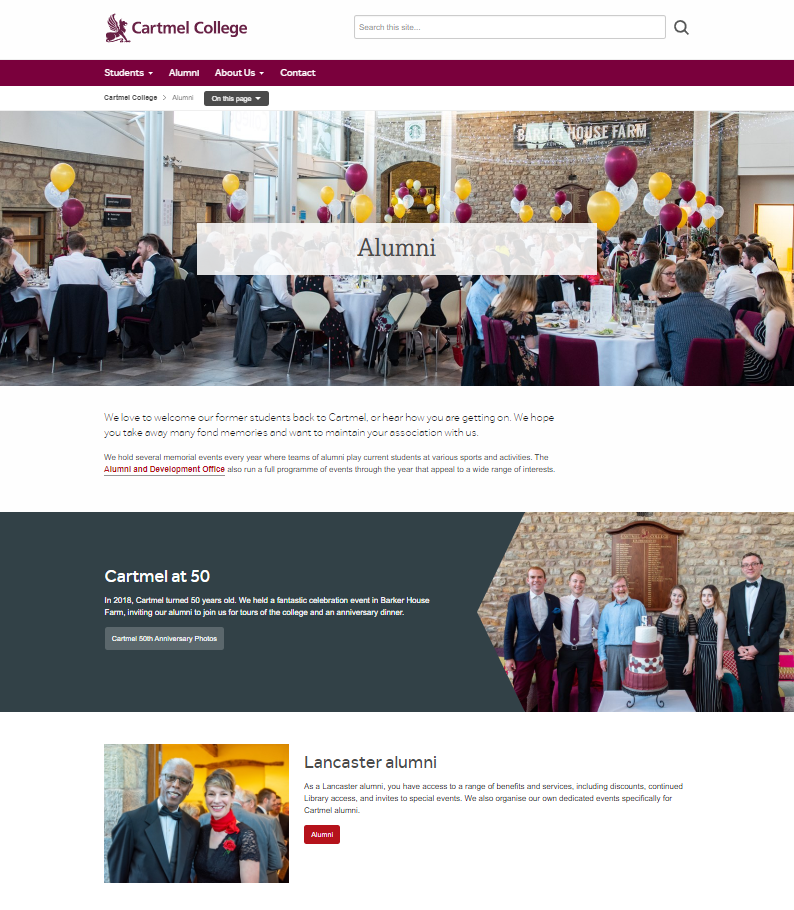 Cartmel College - Alumni page