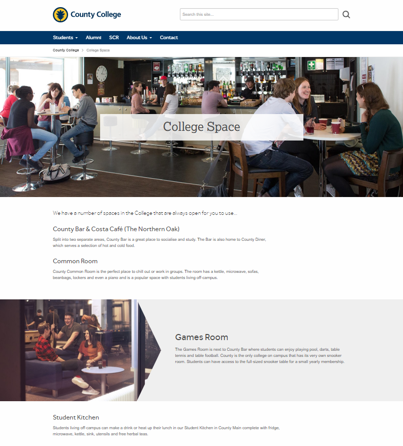 County College - College Space page