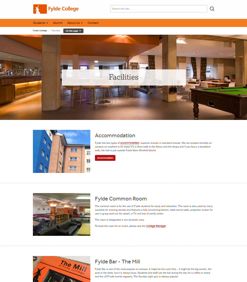 Fylde College - Facilities page