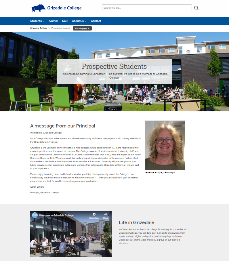 Grizedale College - Prospective Students page