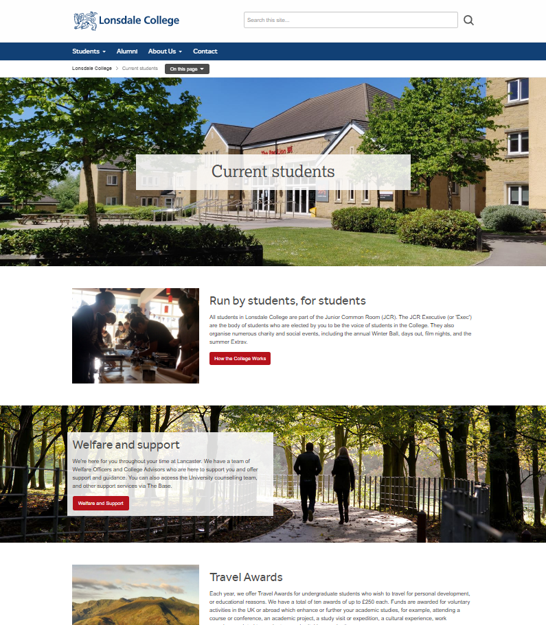 Lonsdale College - Current Students page