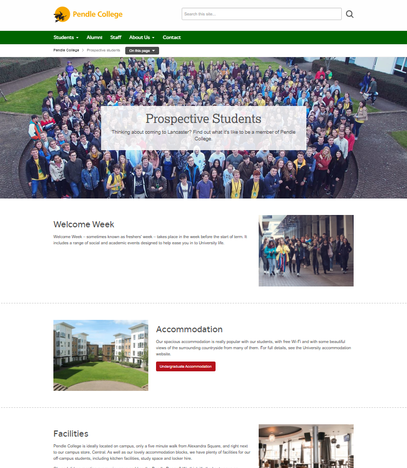 Pendle College - Prospective Students page