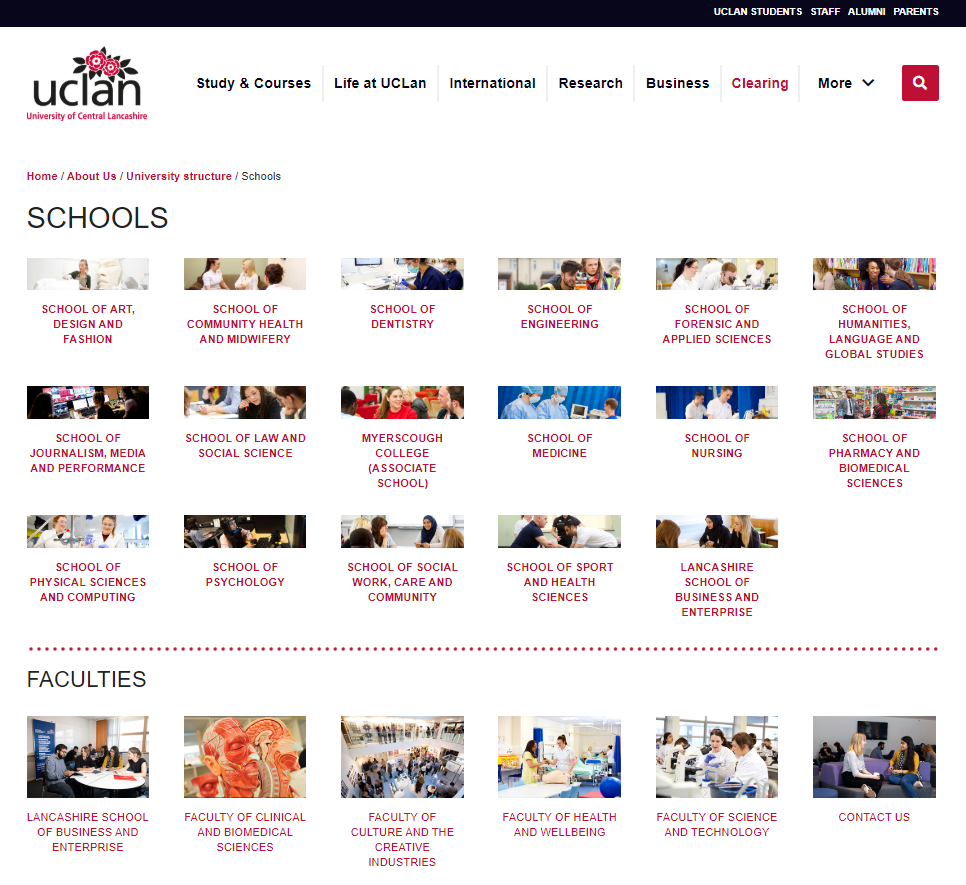 Old UCLan website, July 2020: Schools and Faculties homepage