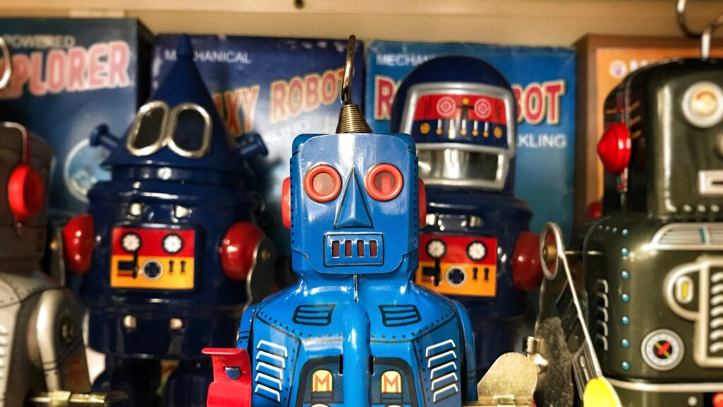 Mechanical toy robots. Photo by Craig Sybert on  Unsplash